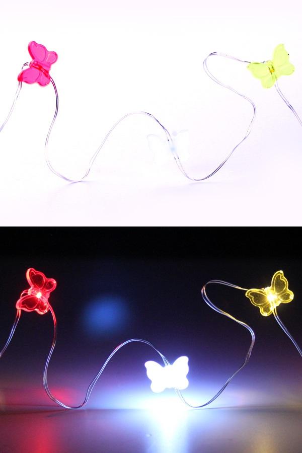 Ledverlichting snoer vlinders rood-wit-geel 20 lamps 1