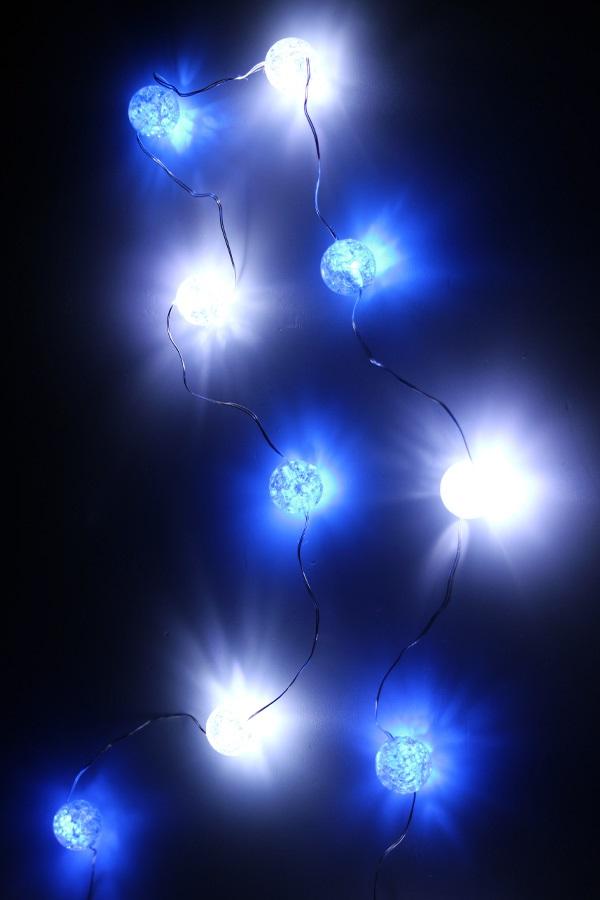 Ledverlichting snoer bolletjes blauw/wit 20 lamps 1
