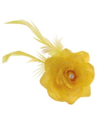 Bloemen op speld/elastiek geel 1