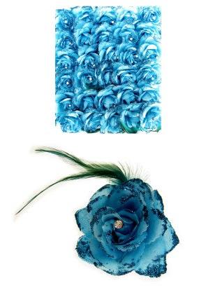 Bloem op speld/elastiek turquoise 1