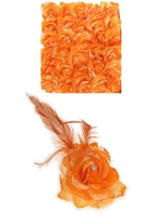 Bloem op speld/elastiek oranje 1