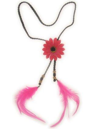 Hoofdband met roze bloem en veren 1