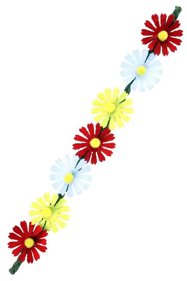 Hoofdband bloemen rood/wit/geel 1