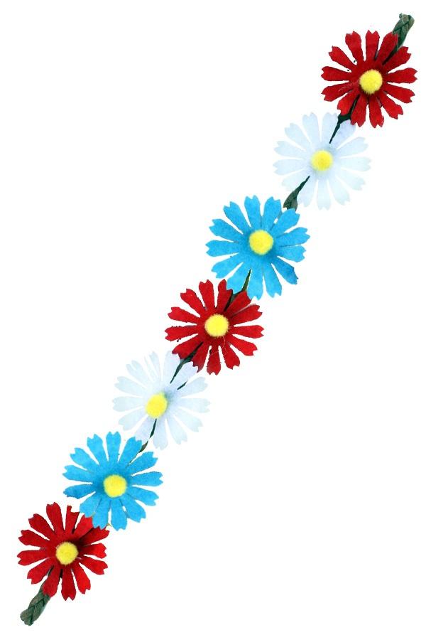 Hoofdband bloemen rood/wit/blauw 1