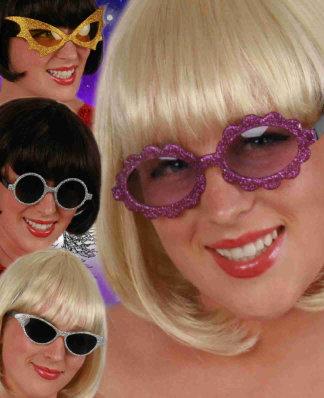 Glitterbril kind assortie 1