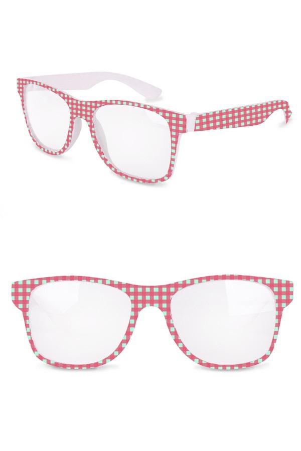 Bril roze/ (wit) lichtblauw geblokt 1