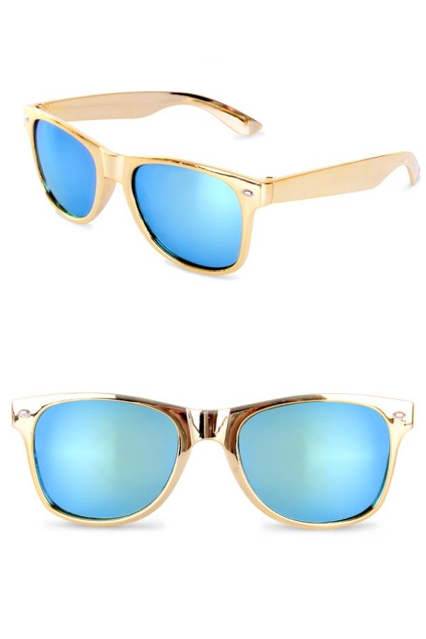 Blues brother bril goud met spiegelglas  1