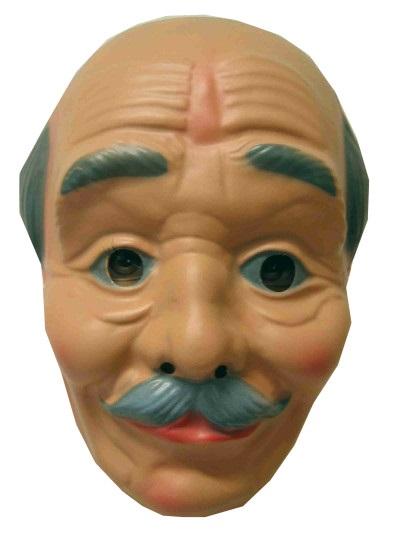 Masker opa kaalhoofd met snor plastic 1