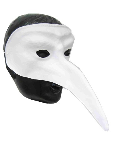 Snavelmasker Venetie wit plastic 1