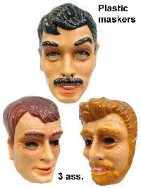 Masker jonge mannen plastic 3 assorti 1