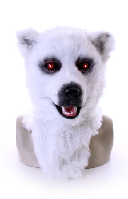 Volkop masker witte beer met lichtgevende ogen en bewegende mond 1