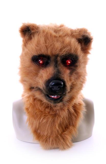 Volkop masker bruine beer met lichtgevende ogen en bewegende mond 1
