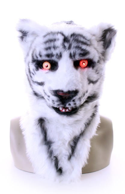 Volkop masker tijger wit lichtgevende ogen, bewegende mond 1
