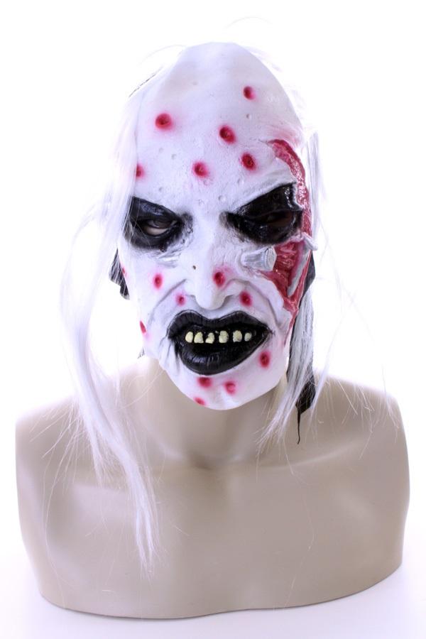 Wit horror masker met haar en bloed 3 assortie 1