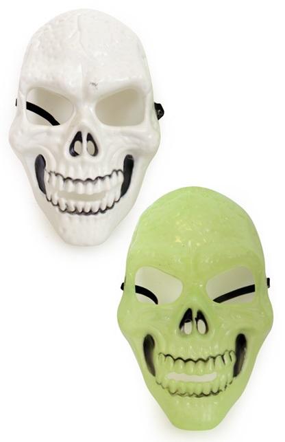Masker skelet wit en glow in the dark 2 assorti 1
