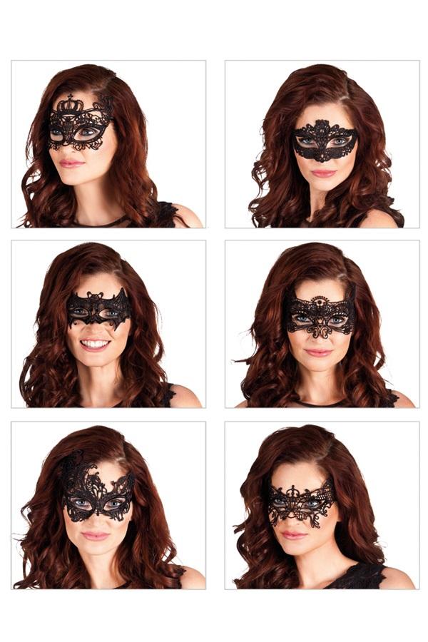 Oogmasker Masquerade kant 6 ass