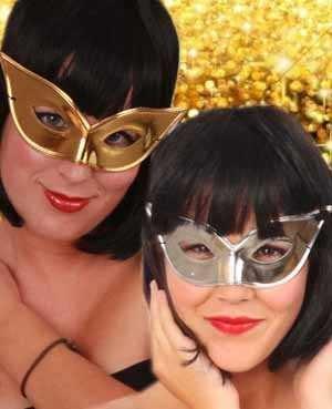 Oogmasker vlindermodel goud/zilver 1
