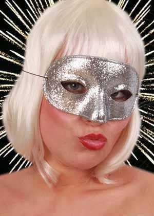 Oogmasker domino glitterzilver 1