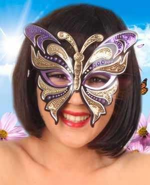 Oogmasker vinyl vlinder met pailletten paars/goud 1