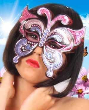 Oogmasker vinyl vlinder met pailletten pink/paars 1