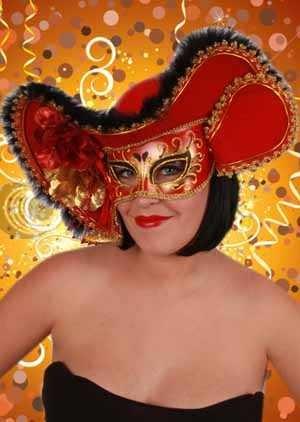 Oogmasker dames venetie rood+hoed 1