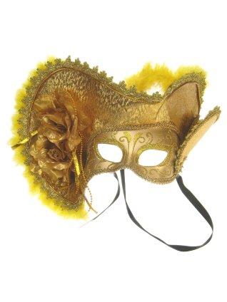 Oogmasker dames venetie goud met hoed 1