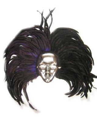Oogmasker zilver met hoofdtooi zwart 1