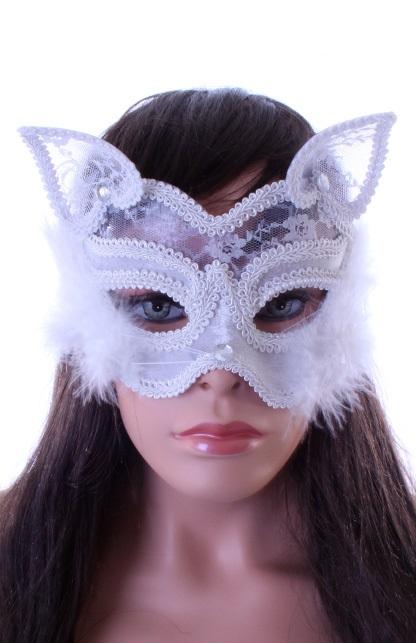 Wit oogmasker met kant en marabou luxe 1