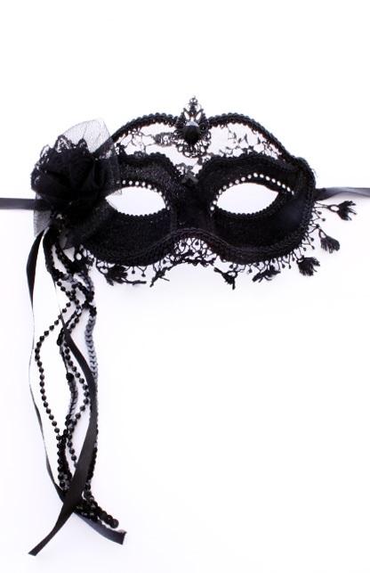 Zwart oogmasker met kant LUXE
