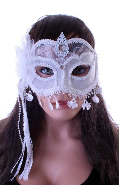 Wit oogmasker met kant LUXE 1