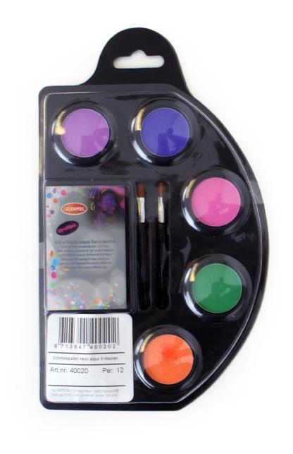 Schmink palet aqua 6 neon kleuren 1