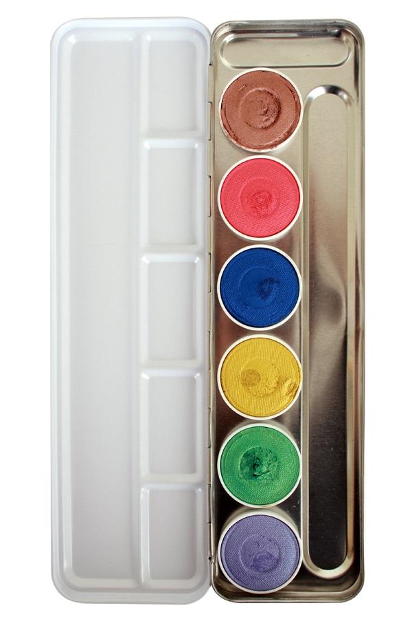 Superstar Face & Bodypaint palet Shimmer Aqua 6 kleuren 1