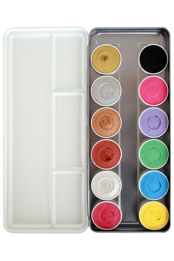 Superstar Face & Bodypaint  palet Shimmer & Pastel Aqua 12 kleuren (12x5gr) 1