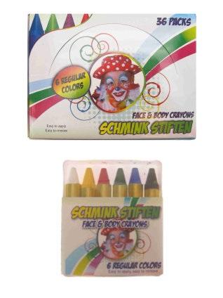 PXP schminkstiften EU 6 x 8 gram reguliere kleuren in doos 1