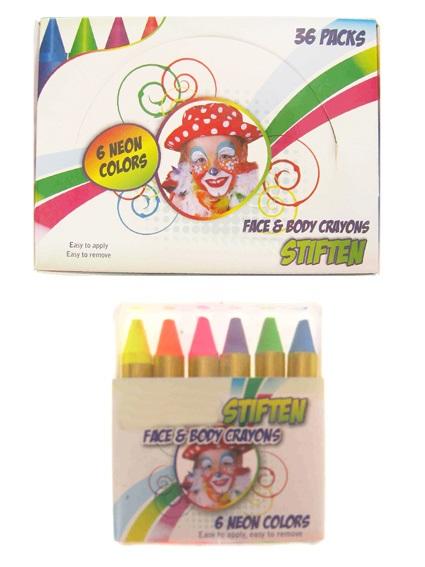 PXP kleurkrijtjes EN-71 6 x 8 gram neon colours in doos 1