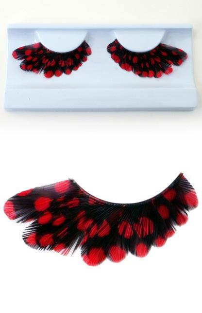 Wimpers veertjes zwart met rode stippen 1