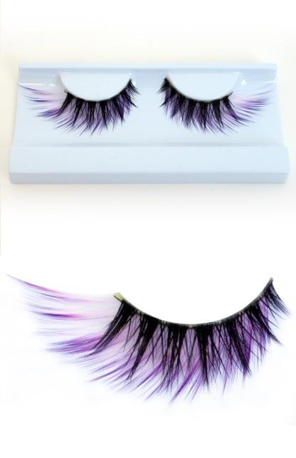 Wimpers zwart met paars/witte haartjes 1