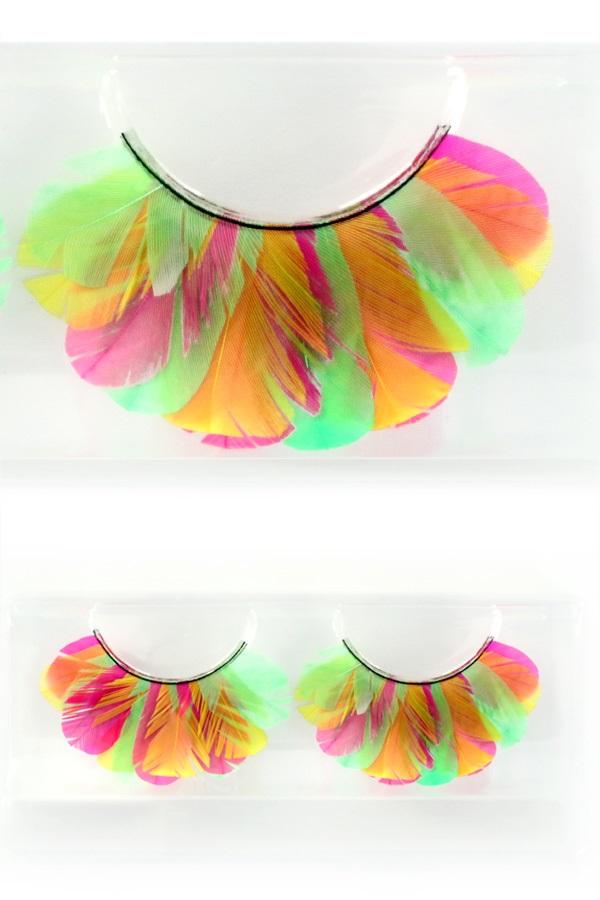 Wimpers veertjes fluor pink/geel/groen 1