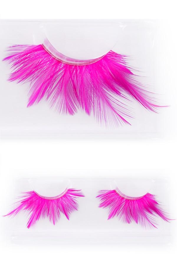 Wimpers veertjes fluor pink 1