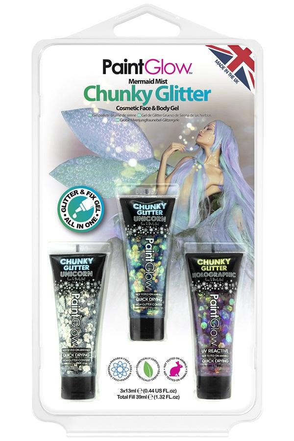 Blister set chunky glitter face & body gel Mermaid Mist 1