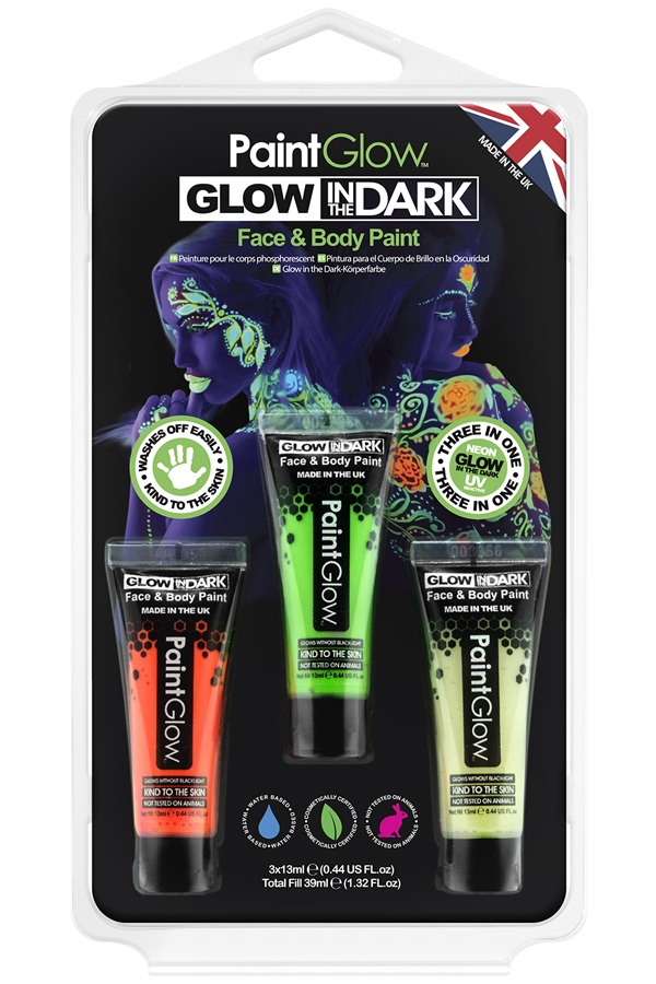 Blister set glow in the dark face & body paint 1