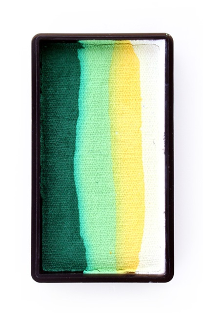 PXP 28 gram splitcake block BWhite | yellow | lime | dark green 1