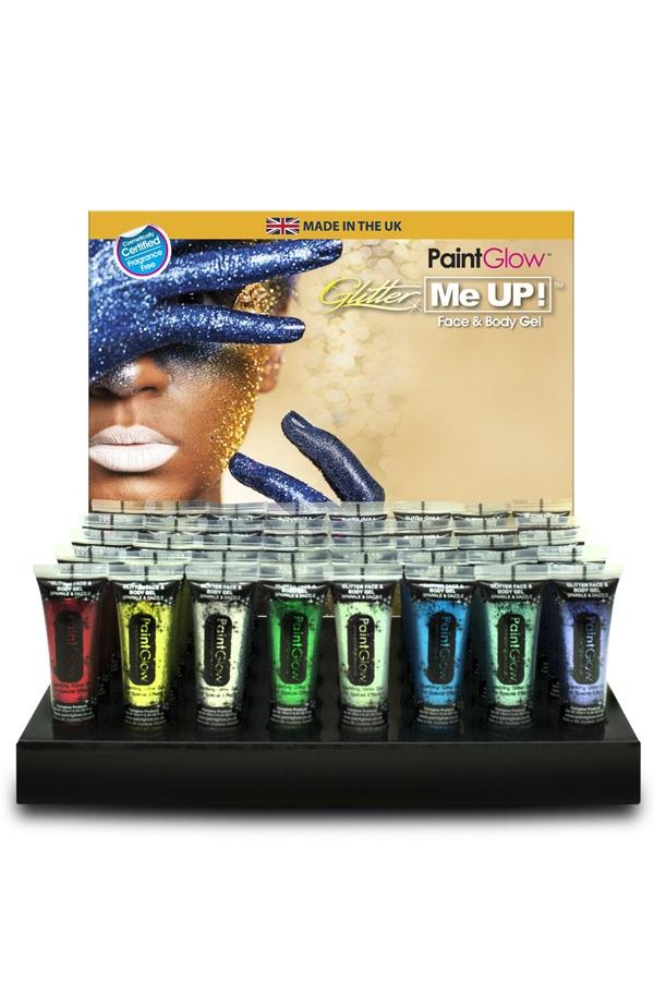 Glitter Face & Body gel 10 ml assortie in display 1