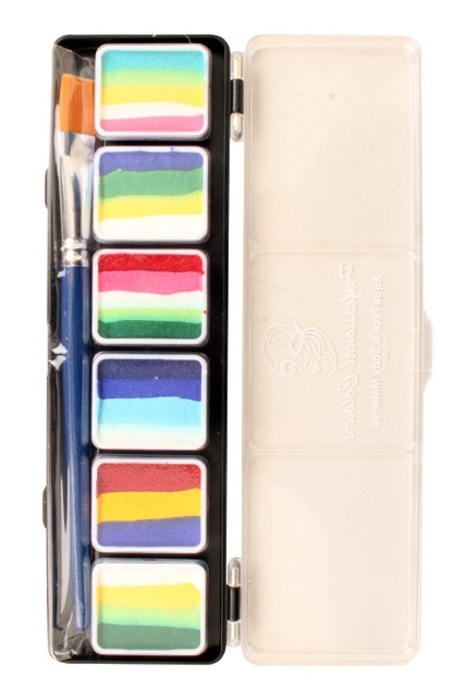PXP Aqua face & body paint 6 x 6 gram splitcake palet with brush size 6 – B 1