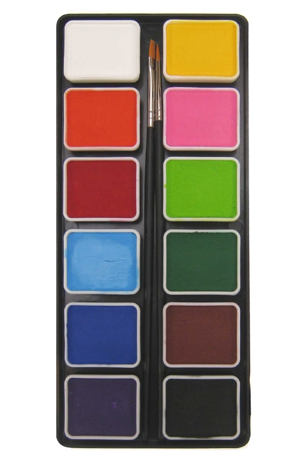 PXP 12 x 6 gram regular colours palet with  2 brushes size 2 1