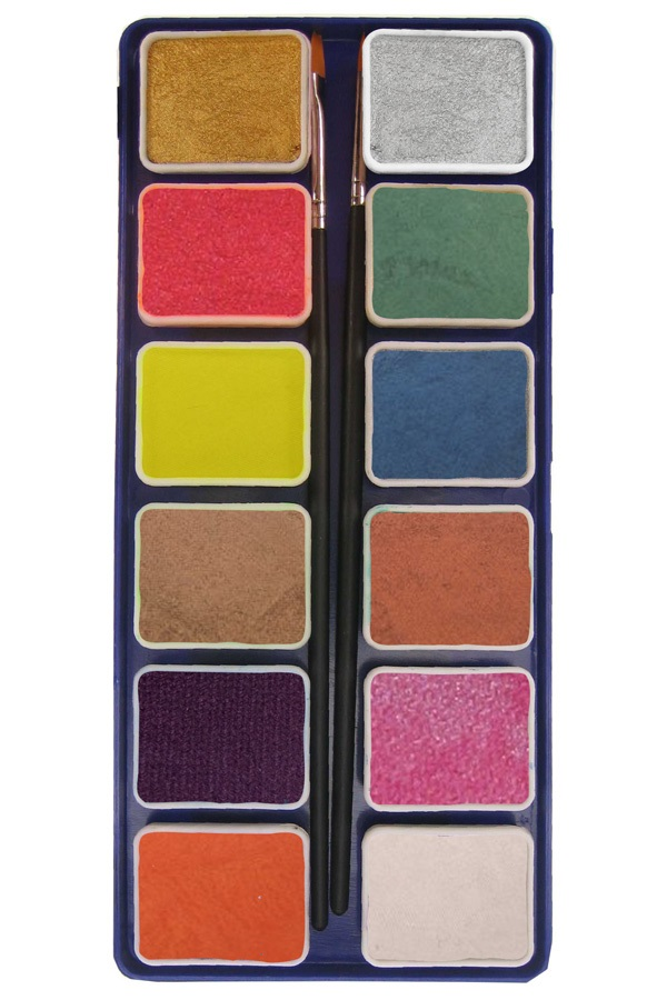 PXP 12 x 6 gram metallic colours palet with 2 brushes  ( liner size 0 , flat size 1) 1