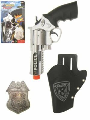 Pistool met holster met badge politie