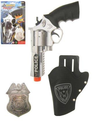 Pistool met holster met badge politie 1