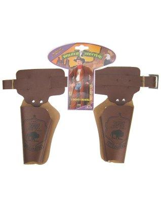 Holster buscadero dubbel bruin 90cm. voor kinderen
