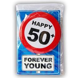Verjaardagskaart met button 50 jaar 1